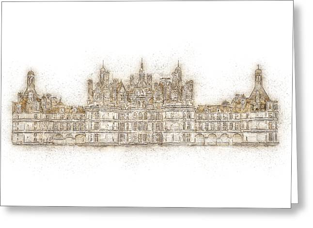 Map Of The Castle Chambord Greeting Card