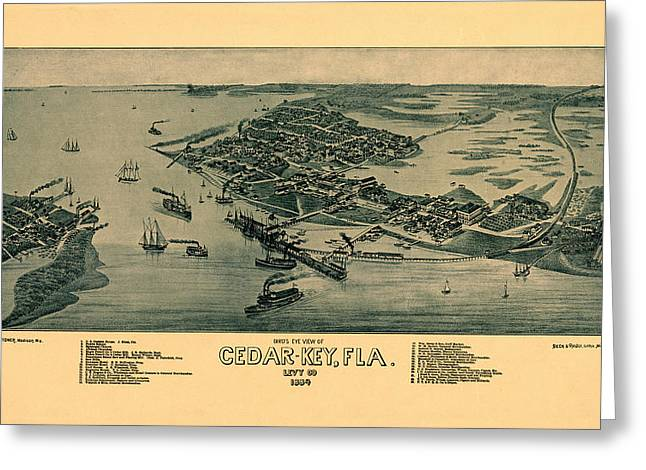 Map Of Cedar Key 1884 Greeting Card
