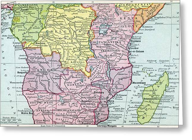 Map Of Central Africa Circa 1930. From Greeting Card