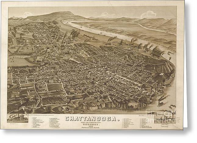 Map Of Chattanooga, County Seat Of Hamilton County, Tennessee 1886 Greeting Card