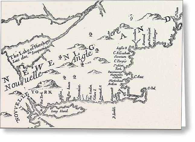 Map Of Colonial New England Greeting Card by American School