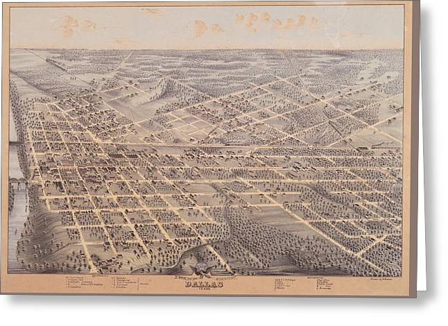 Map Of Dallas 1872 Greeting Card by Mountain Dreams