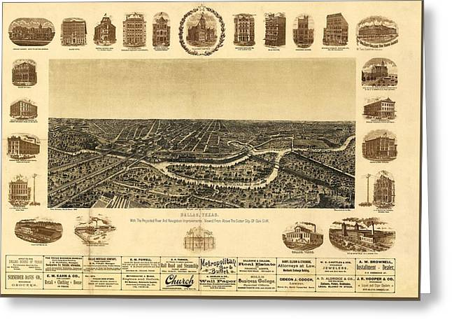 Map Of Dallas 1892 Greeting Card by Mountain Dreams