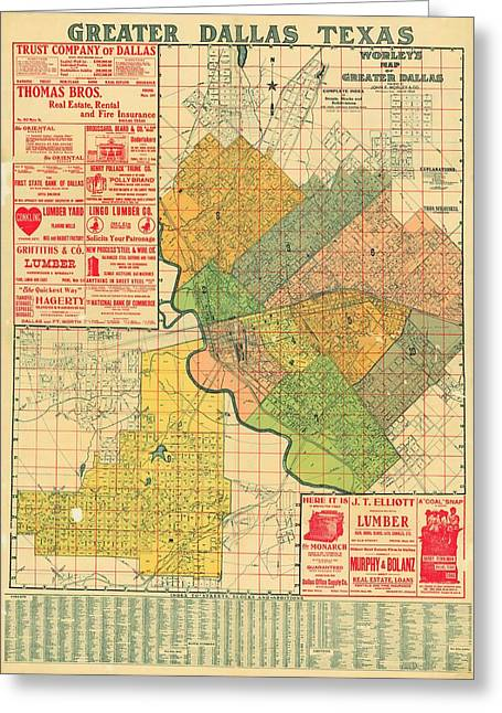 Map Of Dallas 1905 Greeting Card by Mountain Dreams