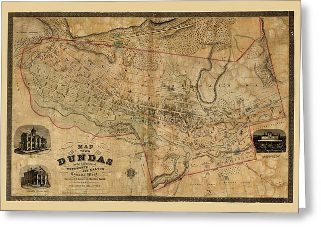 Map Of Dundas 1851 Greeting Card by Andrew Fare
