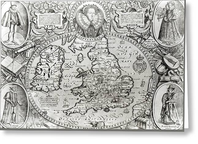 Map Of England During The Reign Of Queen Elizabeth I, 1590  Greeting Card by Jodocus Hondius