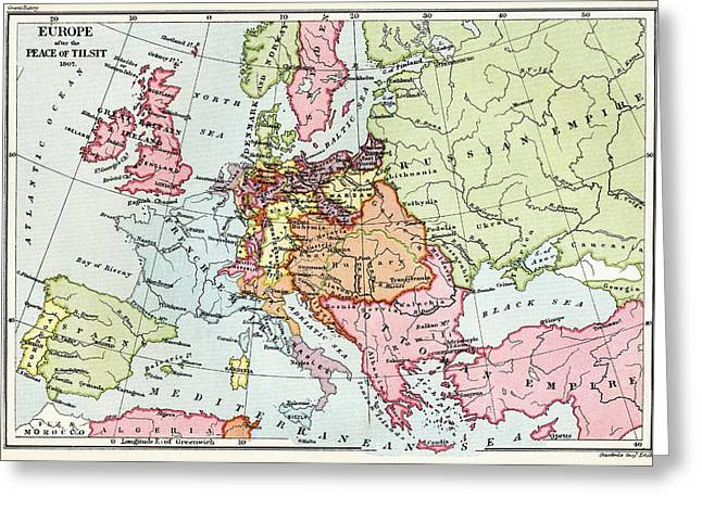 Map Of Europe After The Peace Of Tilsit Greeting Card