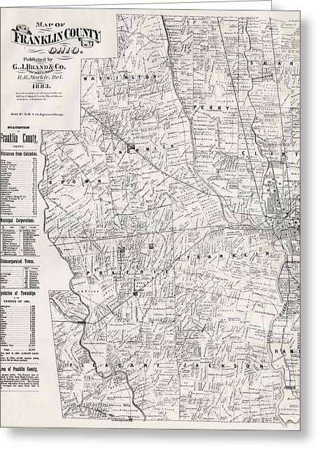 Map Of Franklin County Ohio 1883 Greeting Card by Mountain Dreams