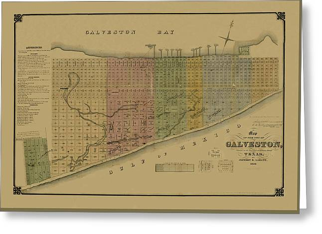 Map Of Galveston 1869 Greeting Card by Andrew Fare