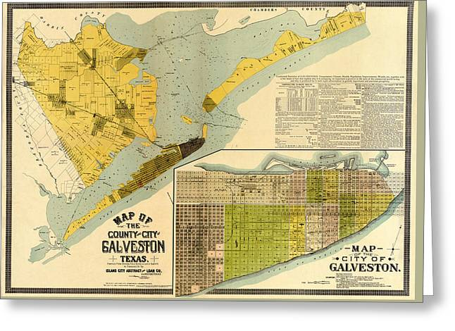 Map Of Galveston 1890 Greeting Card by Andrew Fare