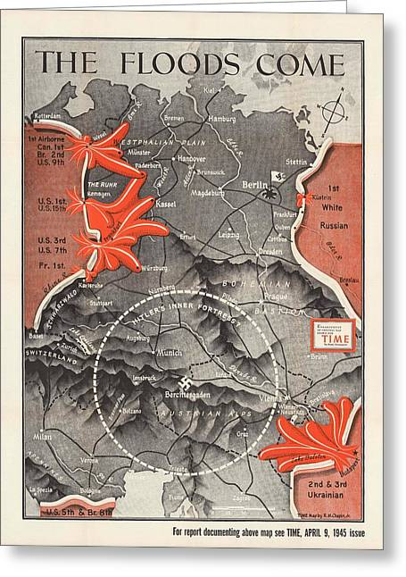 Map Of Germany - World War 2 Military Map -time Magazine - Historic Map Greeting Card