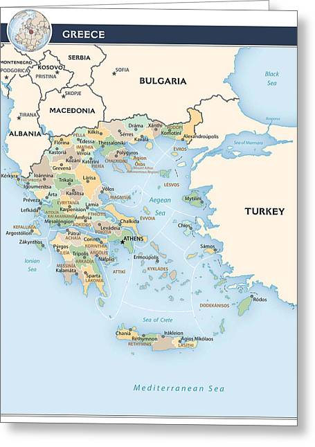 Map Of Greece Greeting Card