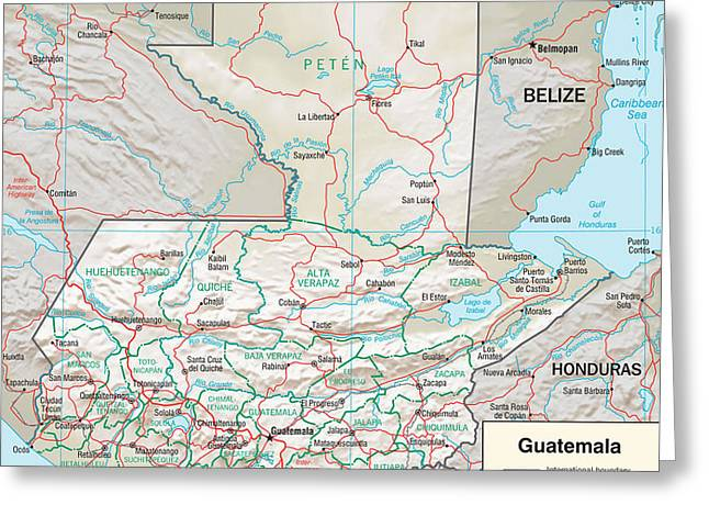 Map Of Guatemala 2 Greeting Card by Roy Pedersen