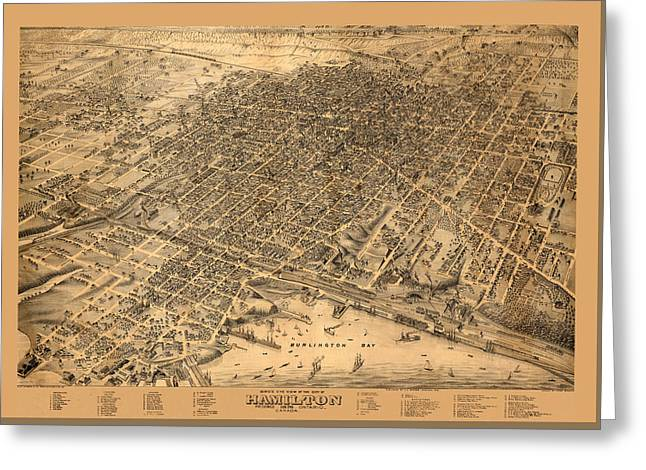 Map Of Hamilton 1876 Greeting Card by Andrew Fare