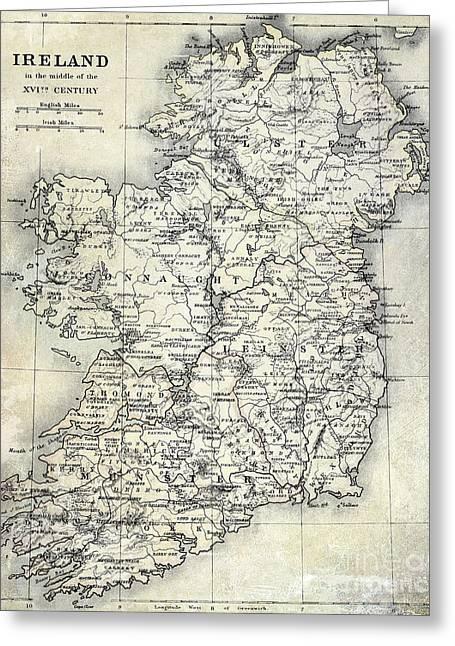 Map Of Ireland Greeting Card by Jon Neidert