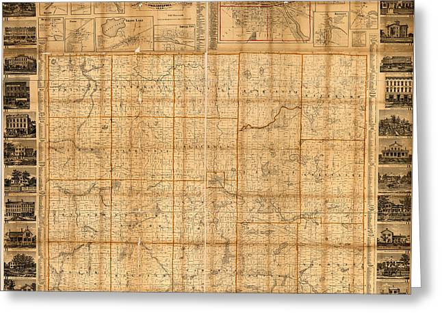 Map Of Jackson County Michigan 1858 Greeting Card by Design Turnpike
