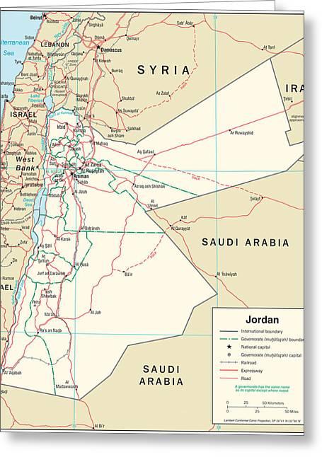 Map Of Jordan 2 Greeting Card by Roy Pedersen