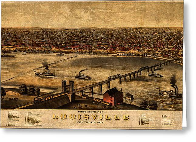 Map Of Louisville Kentucky Vintage Birds Eye View Aerial Schematic On Old Distressed Canvas Greeting Card by Design Turnpike