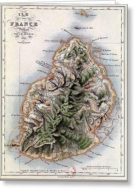 Map Of Mauritius Greeting Card by Dyonnet