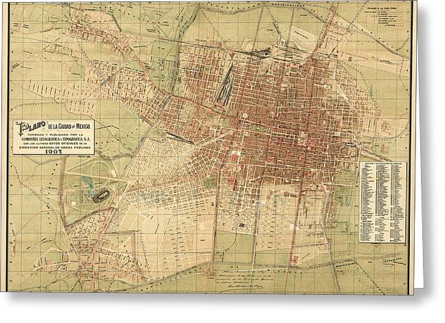 Map Of Mexico City 1907 Greeting Card by Andrew Fare