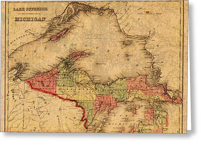 Map Of Michigan Upper Peninsula And Lake Superior Vintage Circa 1873 On Worn Distressed Canvas  Greeting Card by Design Turnpike