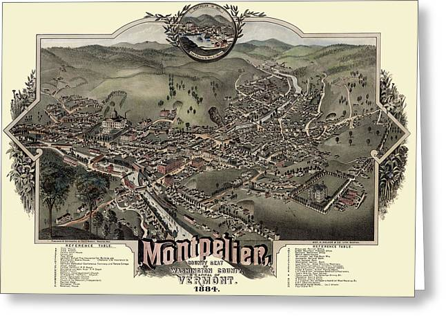 Map Of Montpelier 1884 Greeting Card
