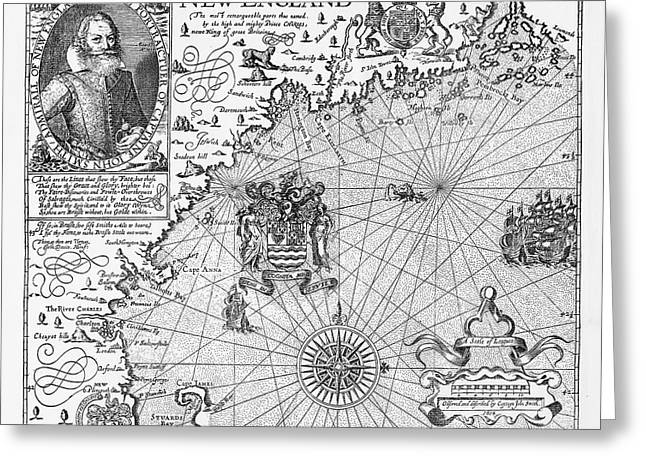Map Of New England By Explorer John Smith, Circa 1624 Greeting Card by Peacock Graphics
