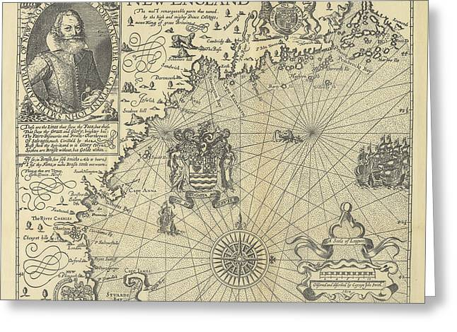 Map Of New England By Explorer John Smith, Circa 1624 Greeting Card by Peacocok Graphics