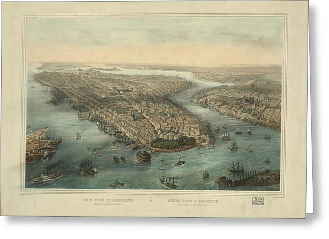 Map Of New York Et Brooklyn Greeting Card