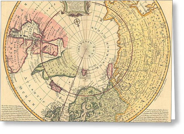 Map Of North Pole Greeting Card by Emanuel Bowen