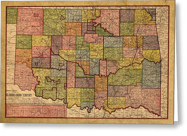 Map Of Oklahoma Vintage Antique Of Worn Canvas 1905 Greeting Card