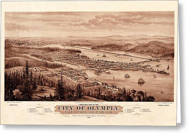 Map Of Olympia 1879 Greeting Card by Andrew Fare
