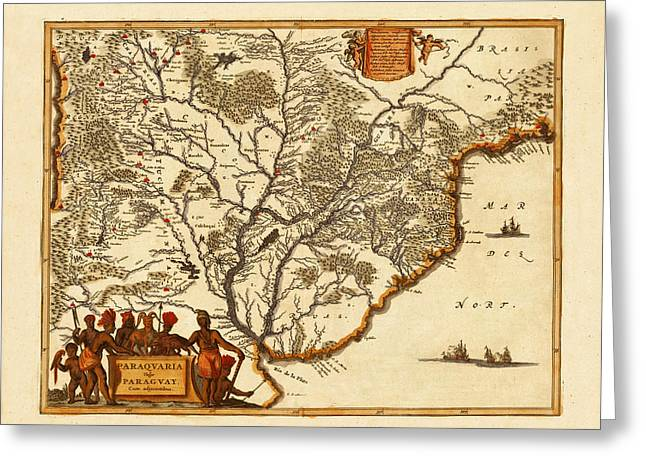 Map Of Paraguay 1671 Greeting Card by Andrew Fare