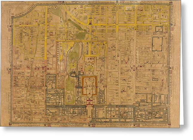 Map Of Peking 1850 Greeting Card by Andrew Fare
