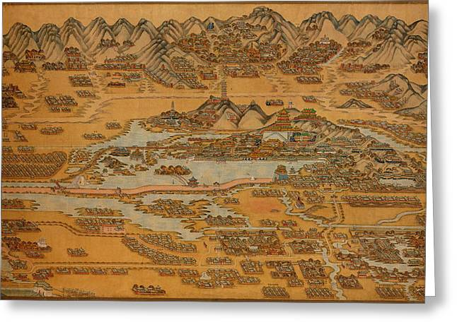 Map Of Peking 1888 Greeting Card by Andrew Fare
