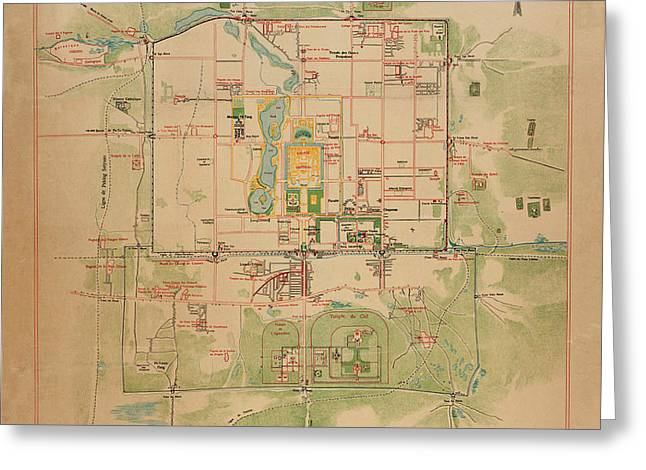 Map Of Peking 1900 Greeting Card by Andrew Fare