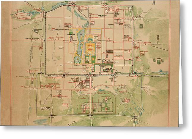 Map Of Peking 1900 Greeting Card