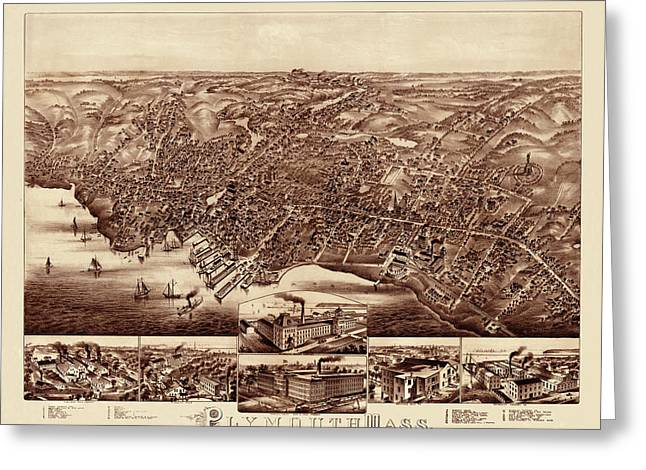 Map Of Plymouth 1882 Greeting Card by Andrew Fare