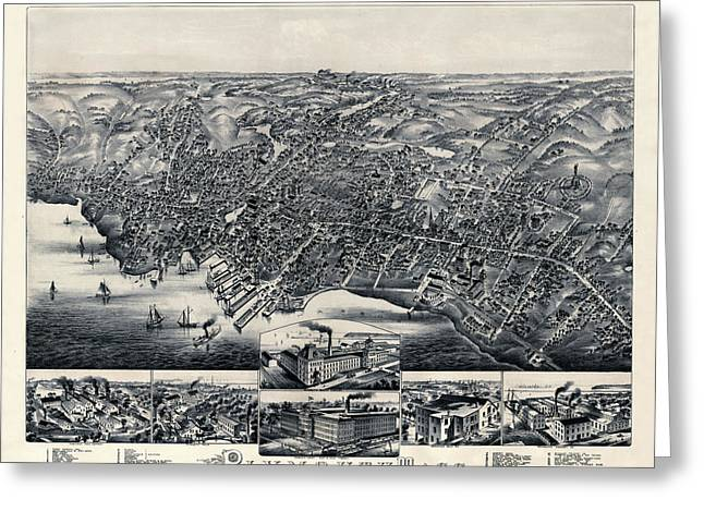 Map Of Plymouth 1882b Greeting Card by Andrew Fare