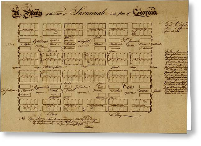 Map Of Savannah 1761 Greeting Card by Andrew Fare