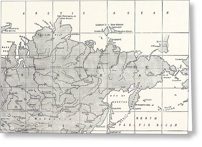 Map Of Siberia And Part Of China Greeting Card by American School