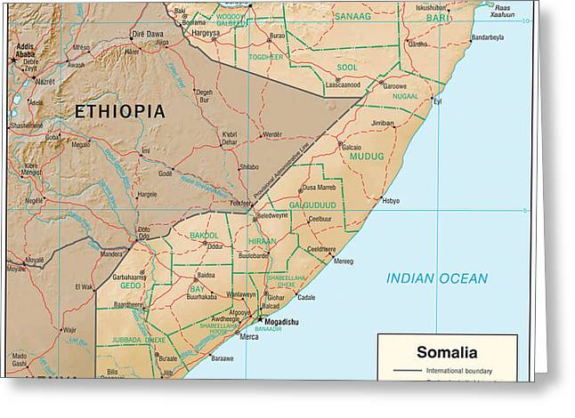 Map Of Somalia Greeting Card by Roy Pedersen