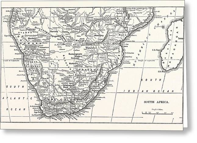 Map Of South Africa Greeting Card by English School