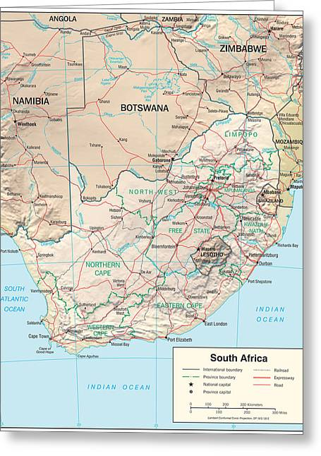 Map Of South Africa Greeting Card by Roy Pedersen