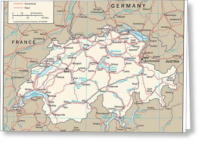 Map Of Switzerland Greeting Card