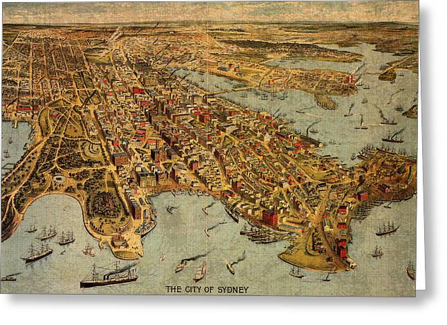 Map Of Sydney Australia Vintage Birds Eye View Schematic Circa 1888 On Worn Parchment Greeting Card