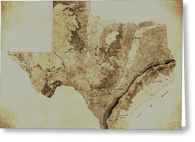 Del Rio Texas Greeting Cards - Map of Texas in Vintage Greeting Card by Sarah Broadmeadow-Thomas