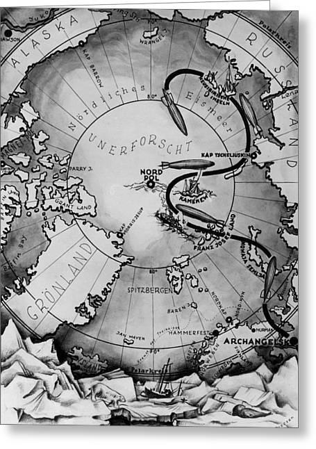 Map Of The Arctic Voyage Of The Airship Lz 127 Graf Zeppelin, 1931 Greeting Card by German School
