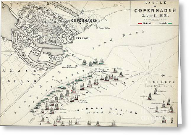 Map Of The Battle Of Copenhagen Greeting Card