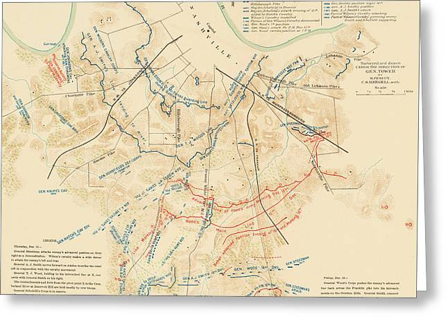 Map Of The Battle Of Nashville - American Civil War Greeting Card
